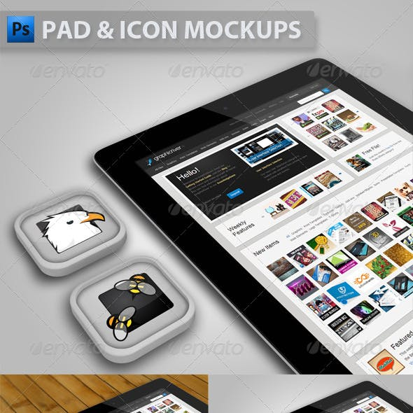 Pad with Icons Mockup