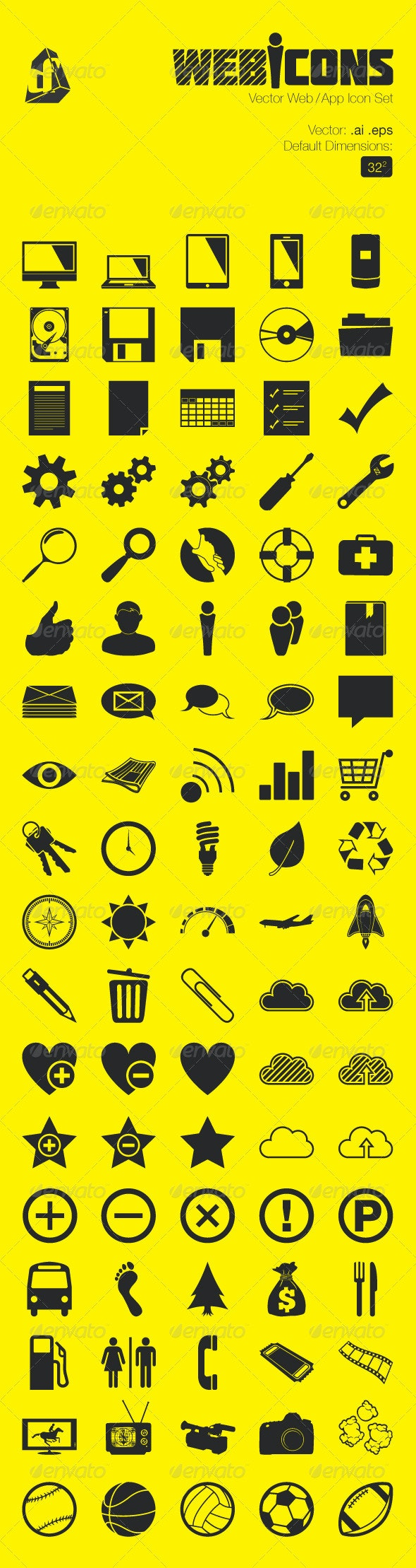 Vector Web and App Icon Set - Web Technology