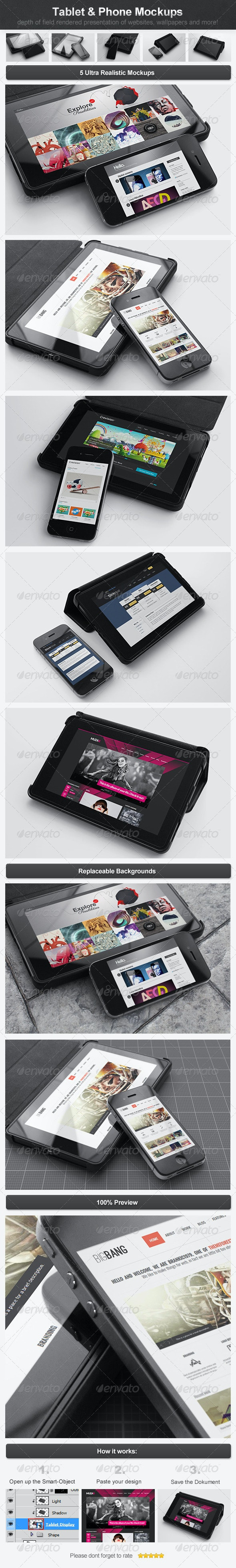 Tablet & Phone Mockups - Multiple Displays