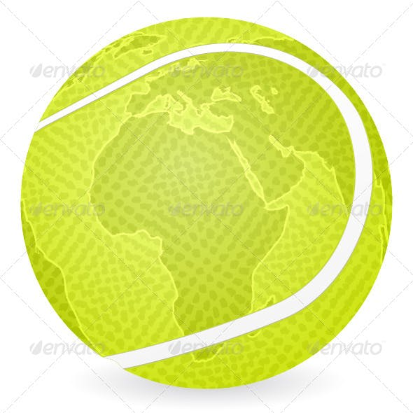 world map tennis ball