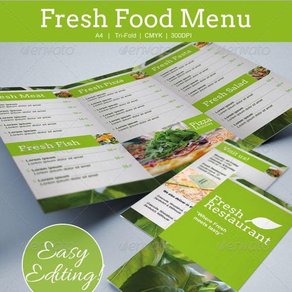 Compre seu Modelo de Cardápio Alimentos frescos Tri-fold personalizado para seu negócio