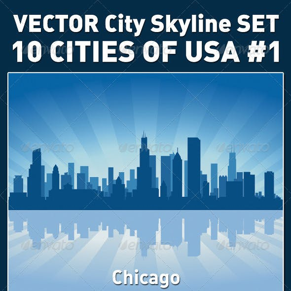 Vector City Skyline Set. USA #1