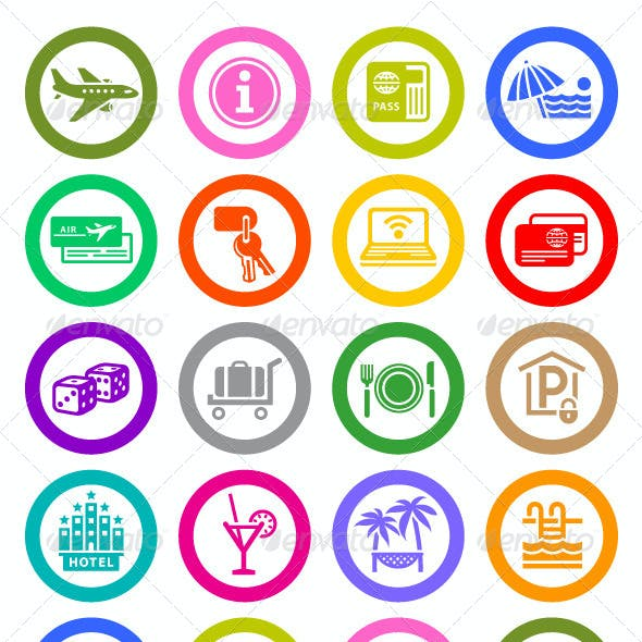 96 pcs. Vacation Icons. Travel Symbols