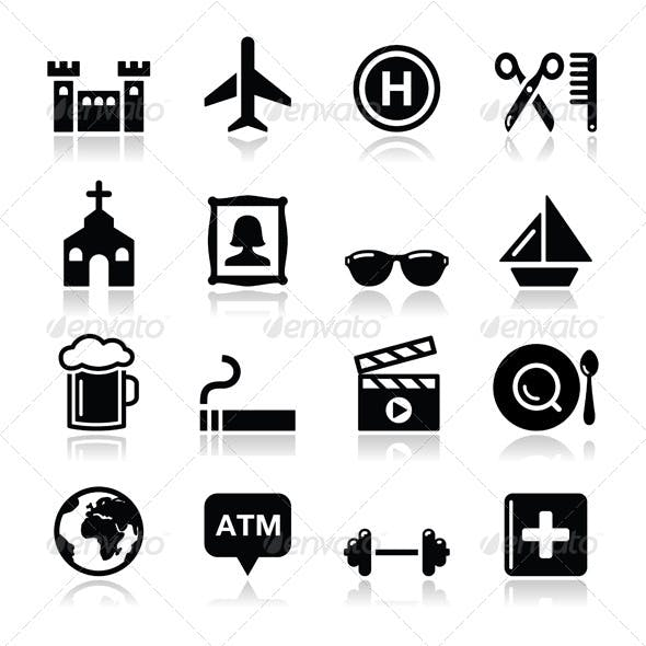Travel and Transport Icon Set