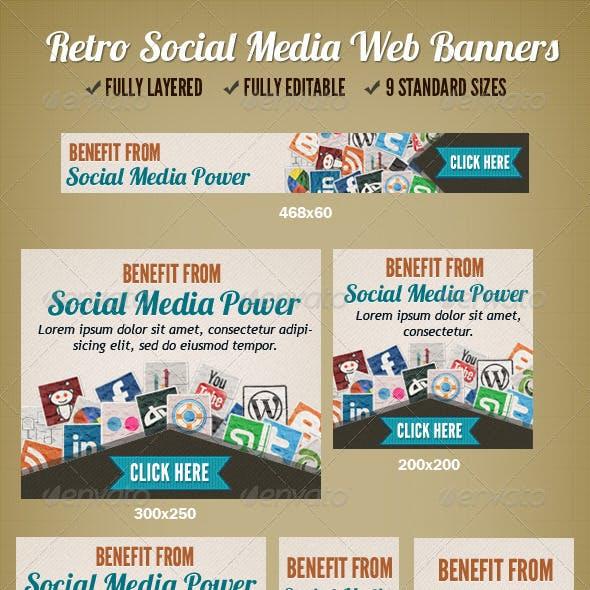 Retro Social Media Web Banner