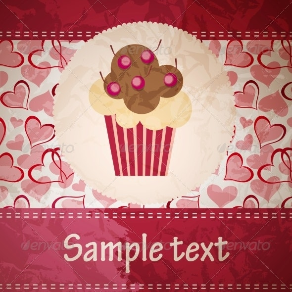 Card with a Cupcake - Food Objects