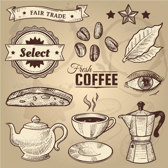 Vintage Coffee Cafe Vector Elements Set