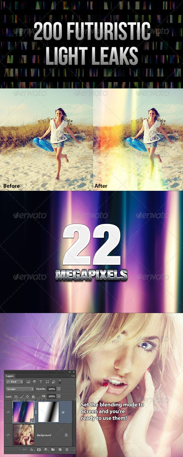 200 Futuristic Light Leaks - Abstract Textures
