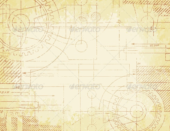 Old Technical Drawing - Backgrounds Decorative