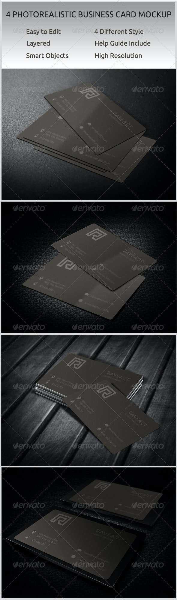 4 Photorealistic Business Card Mockup - Print Product Mock-Ups