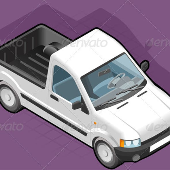 Isometric Pickup White Van