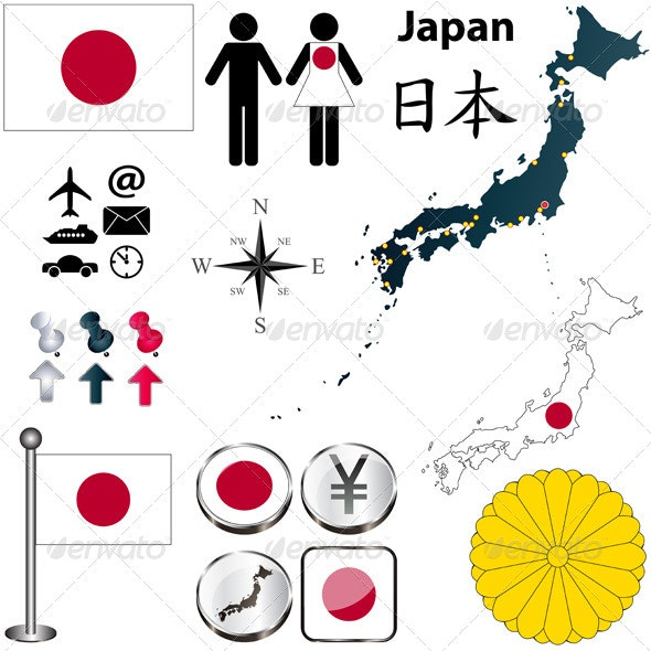 Japan Map and Elements - Travel Conceptual