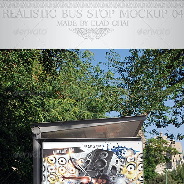 Realistic Bus Stop Flyer Poster Mockup 04