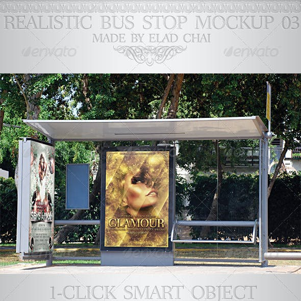 Realistic Bus Stop Flyer Poster Mockup 03