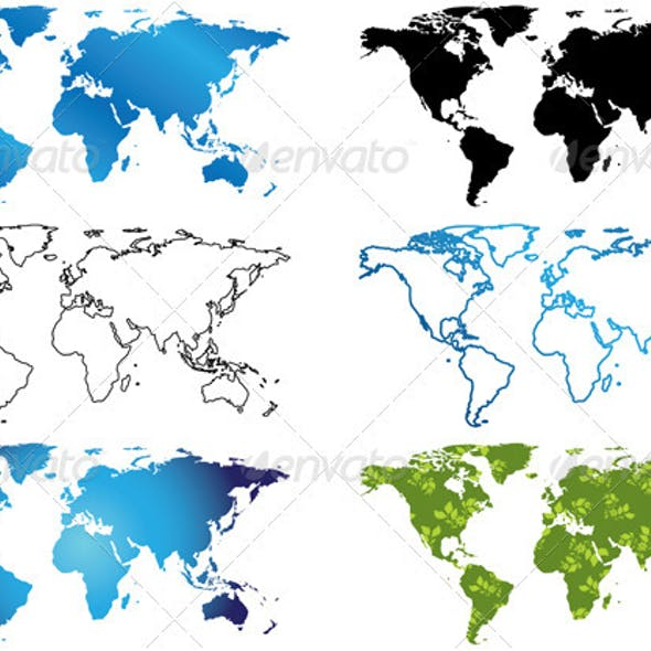 Set of vector maps of the world