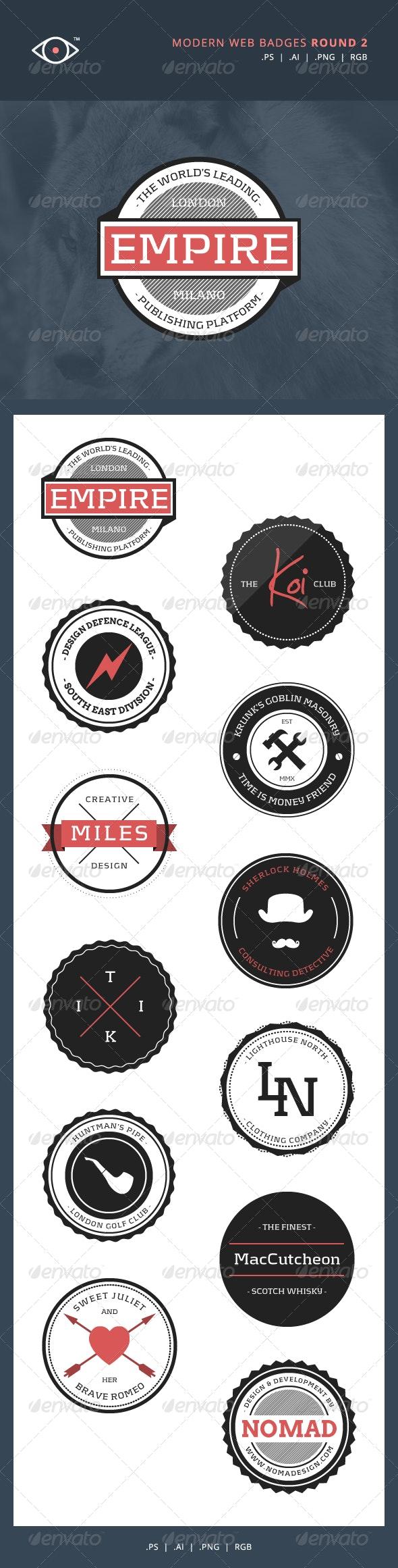 Modern Web Badges - Round 2 - Badges & Stickers Web Elements