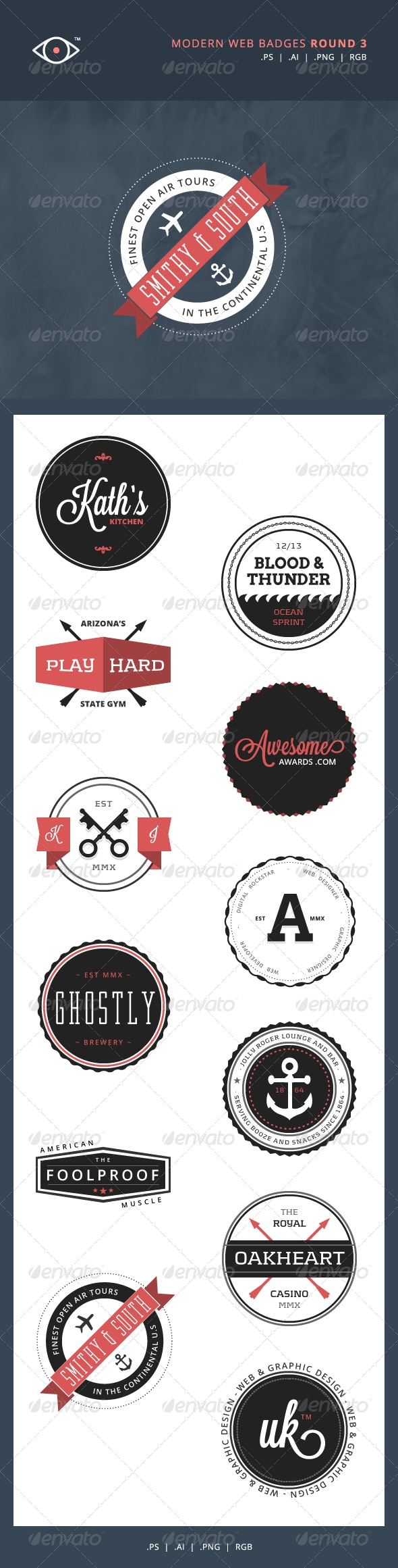 Modern Web Badges - Round 3 - Badges & Stickers Web Elements