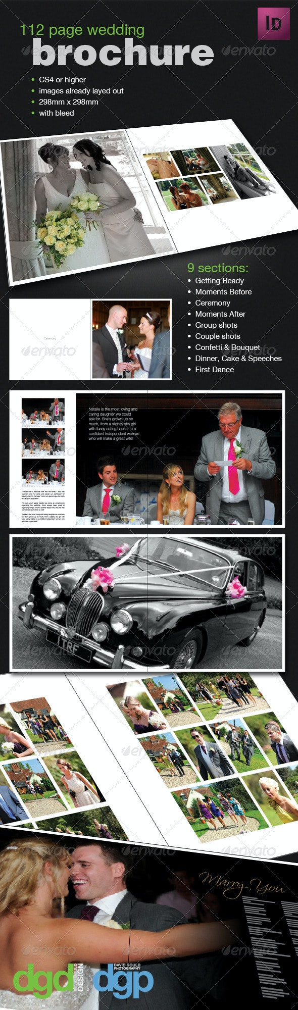 112 Page Wedding Book Template - Photo Albums Print Templates