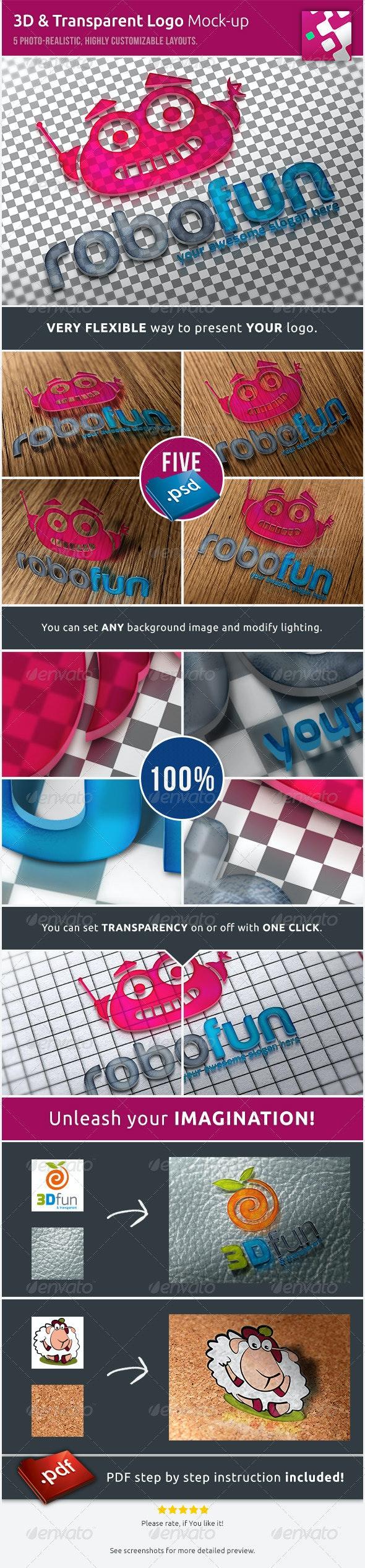 3D & Transparent Logo Mockups - Miscellaneous Product Mock-Ups