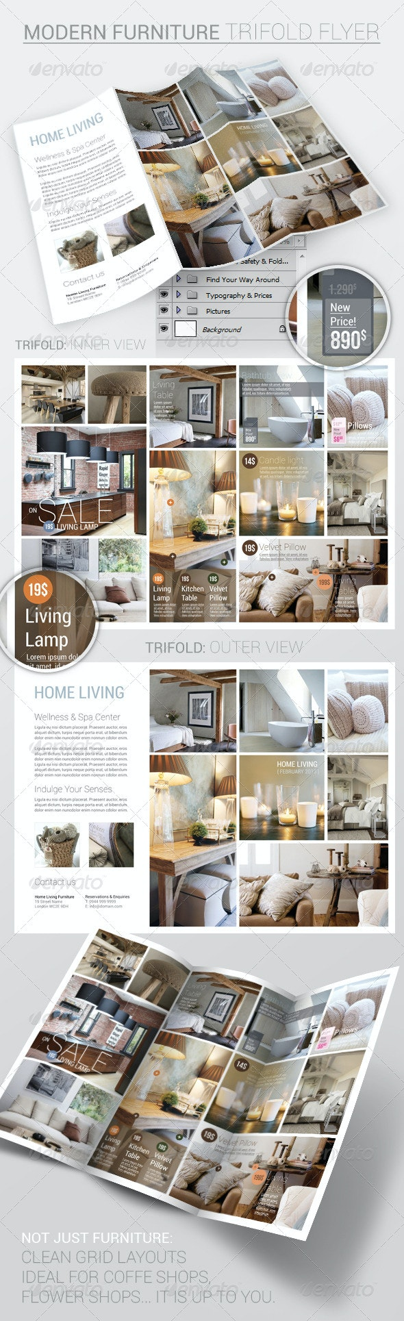 Furniture Trifold Flyer Template - Catalogs Brochures