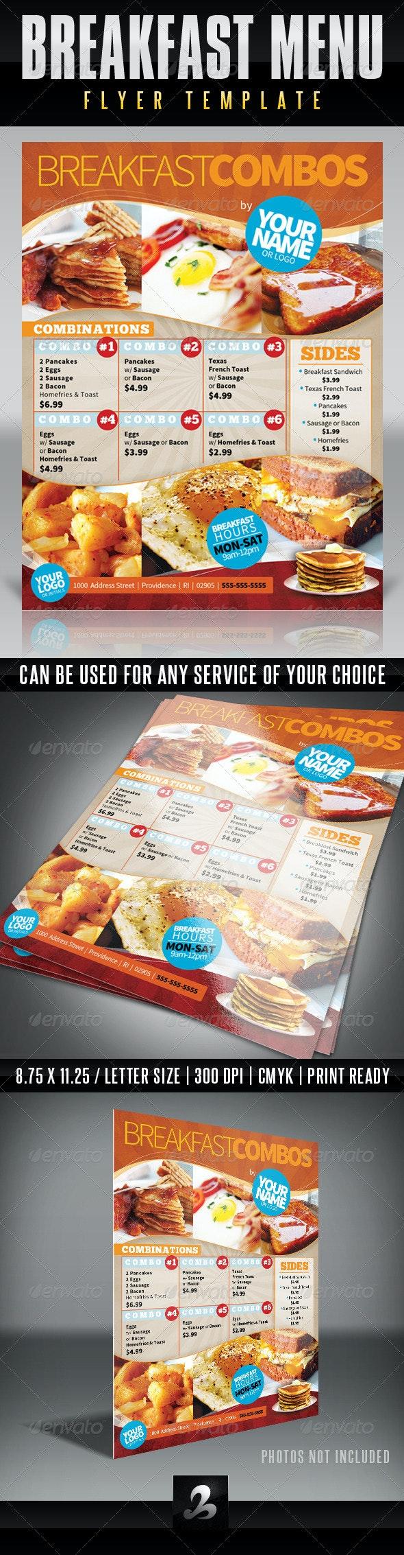 Menu Flyer Template - Breakfast - Food Menus Print Templates