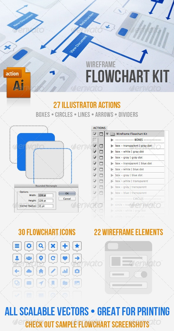 Wireframe Flowchart Kit - Concepts Business