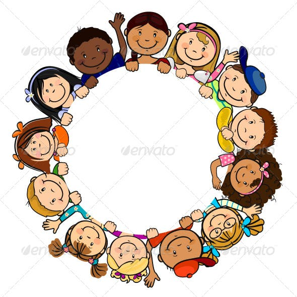 Children in Circle White Background