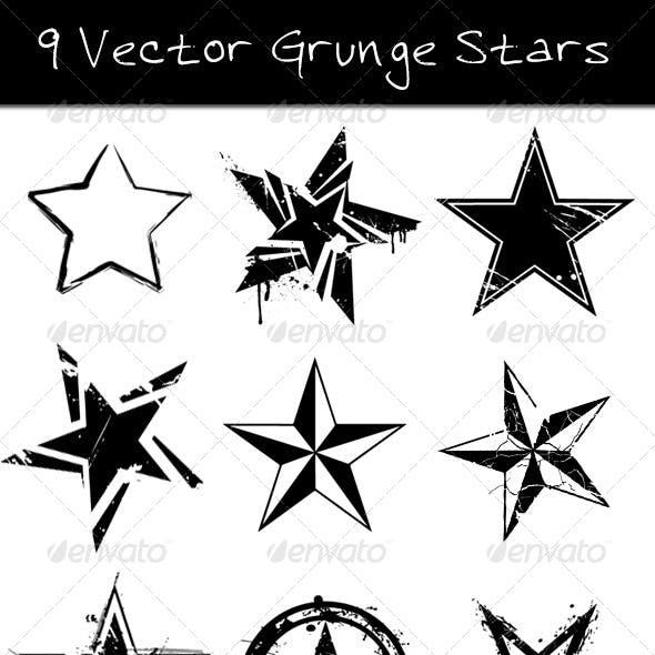 9 Grunge Vector Stars