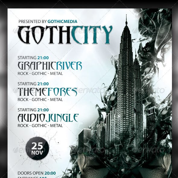 Rock / Gothic City Party / Concert Flyer A4