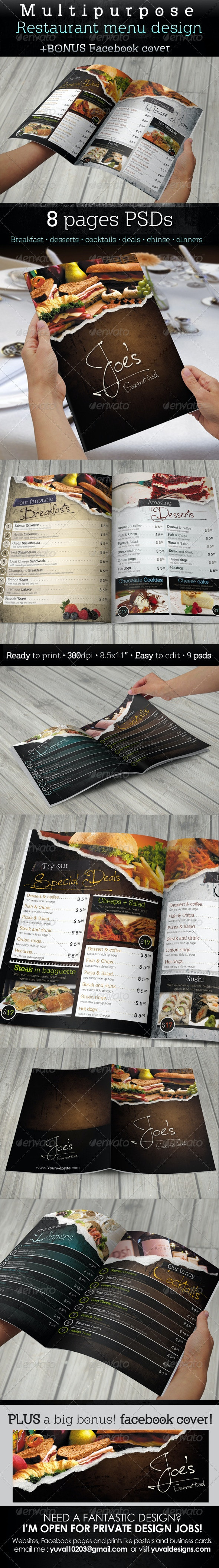 Multipurpose Restaurant Menu Template - Food Menus Print Templates