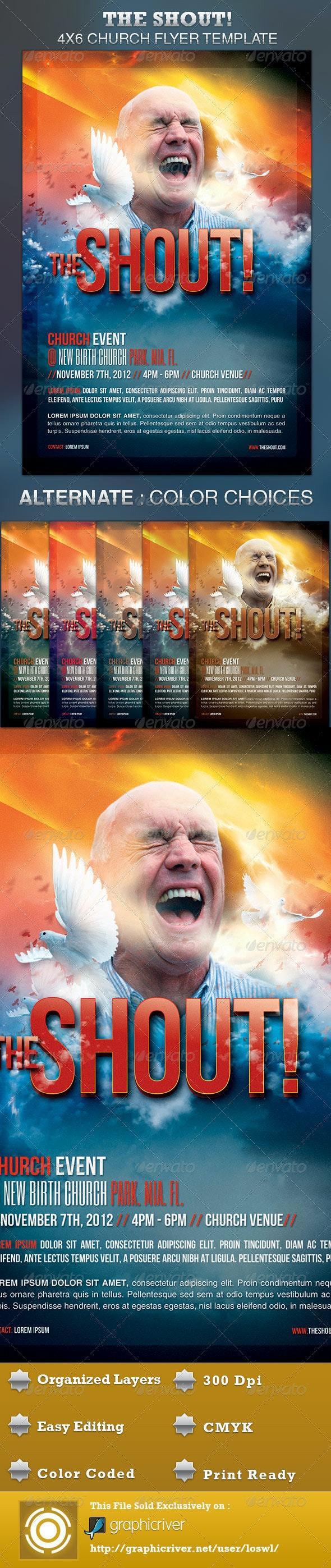 The Shout Church Event Flyer - Church Flyers