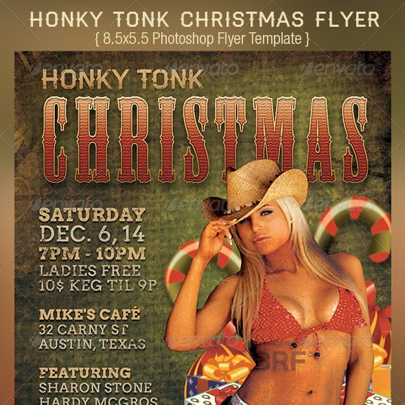 Honky Tonk Country Christmas Flyer Template