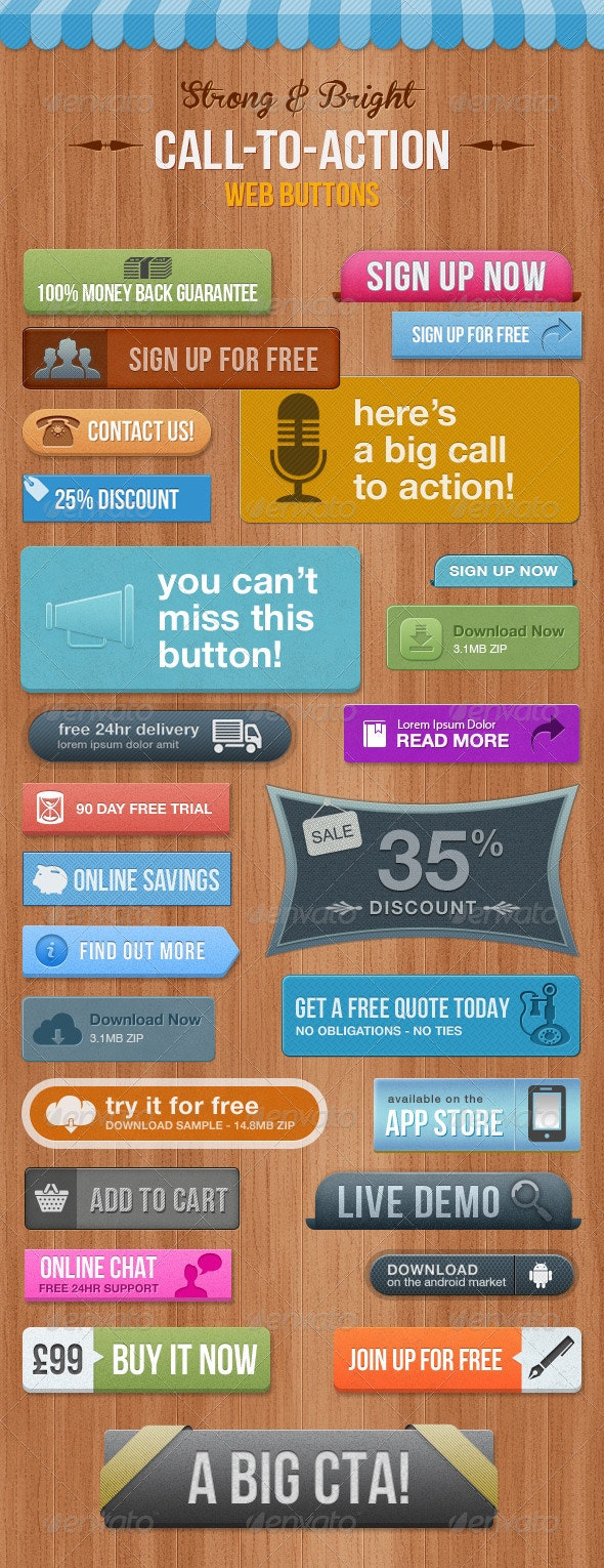 28 Call To Action Buttons  - Bright & Eye-Catching - Buttons Web Elements