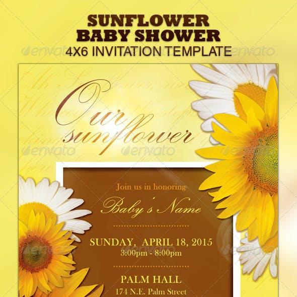 Sunflower Baby Shower Invitation & Raffle Ticket
