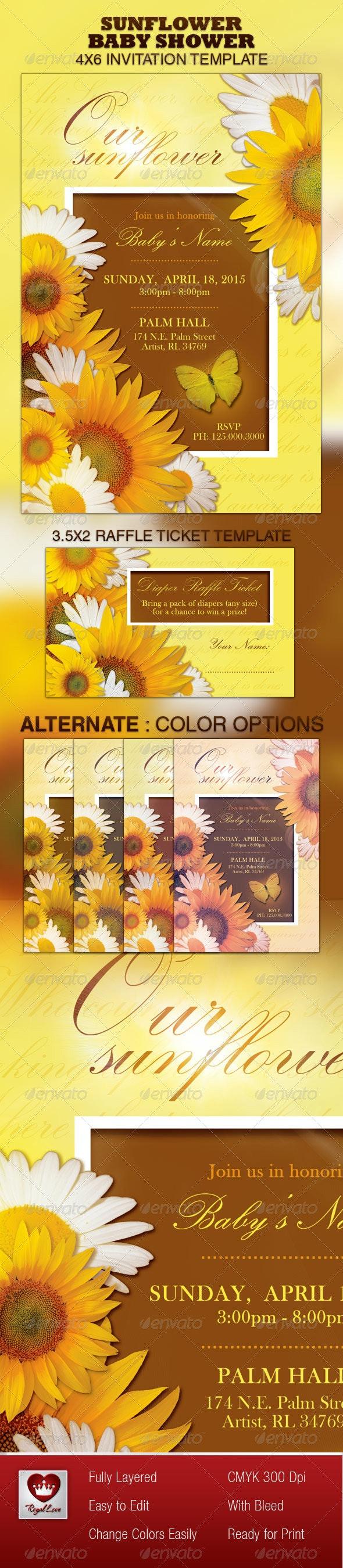 Sunflower Baby Shower Invitation & Raffle Ticket  - Invitations Cards & Invites