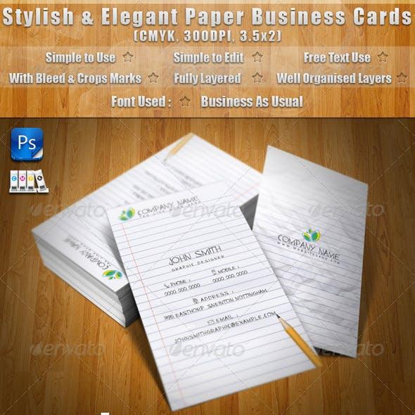 Stylish & Elegant Paper Business Cards