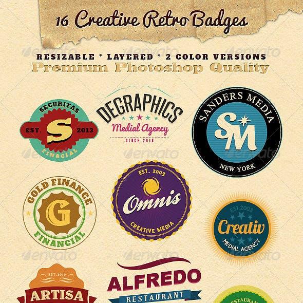 16 Resizable Retro Badges