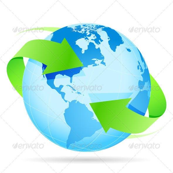 Icon Planet Earth Arrow