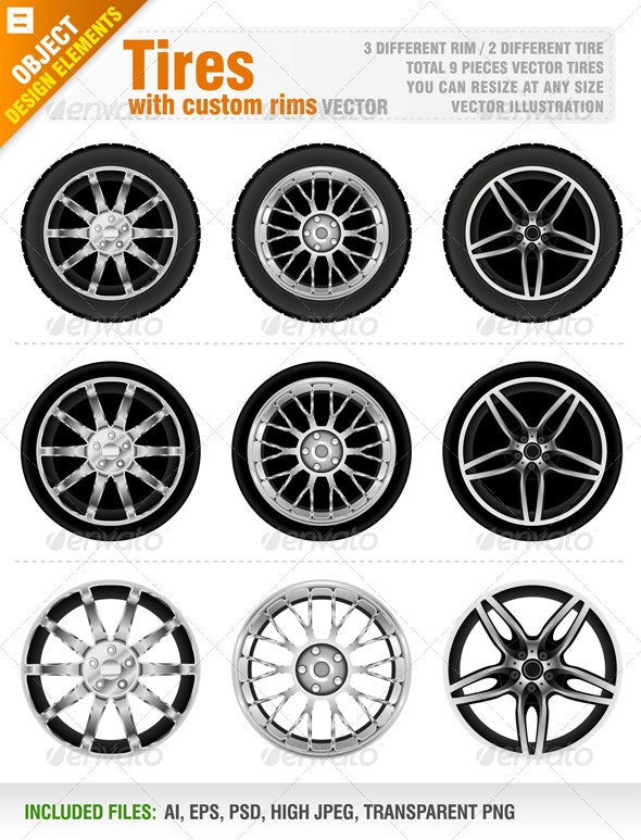 Tires with Custom Rims - Objects Vectors
