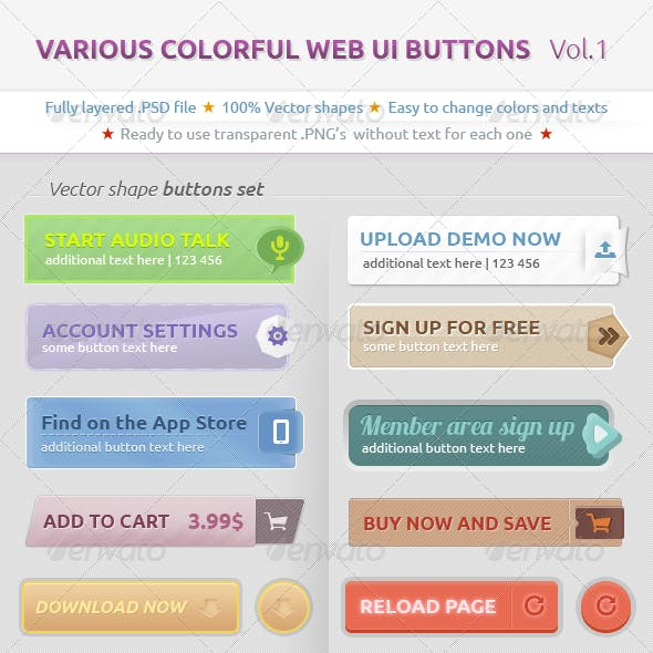 Various Colorful Web UI Buttons