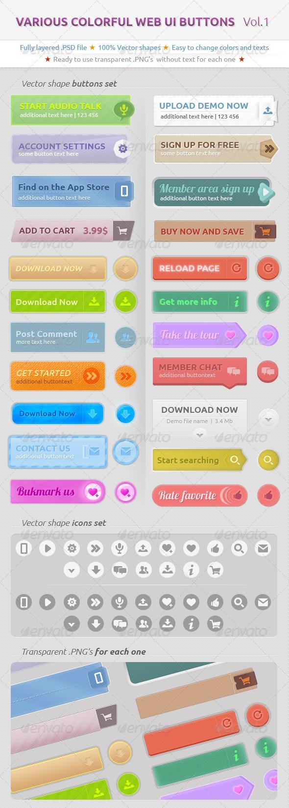 Various Colorful Web UI Buttons - Buttons Web Elements