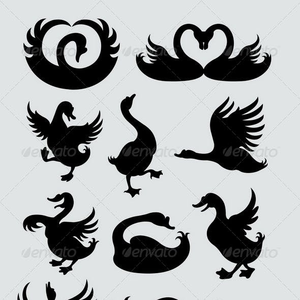 Duck and Swan Silhouettes