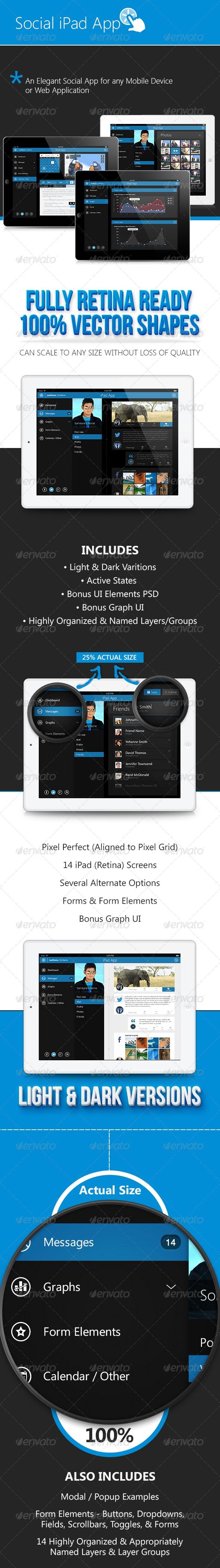Pro Retina Pad OS Tablet App & UI Elements - User Interfaces Web Elements