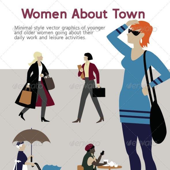 Female Characters Minimal Style Illustrations