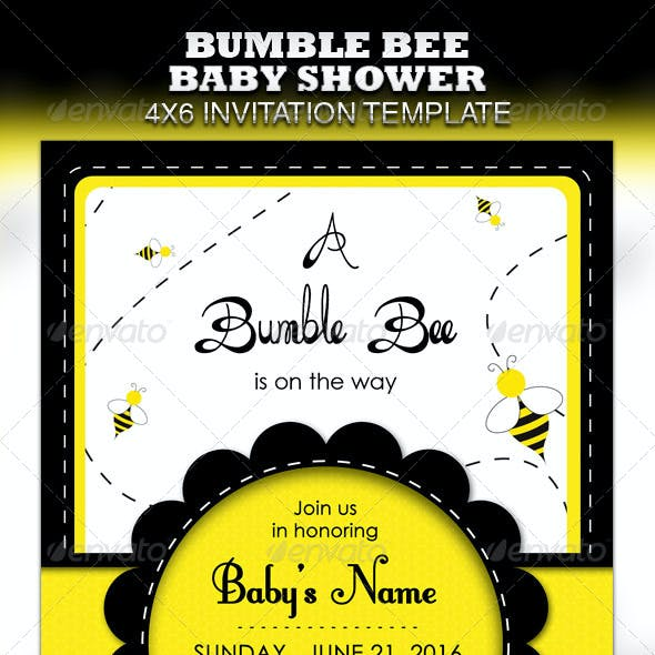 Bumble Bee Baby Shower Invitation & Raffle Ticket