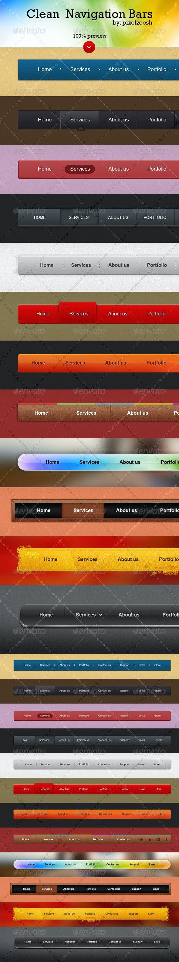 Clean Navigation Style - Navigation Bars Web Elements