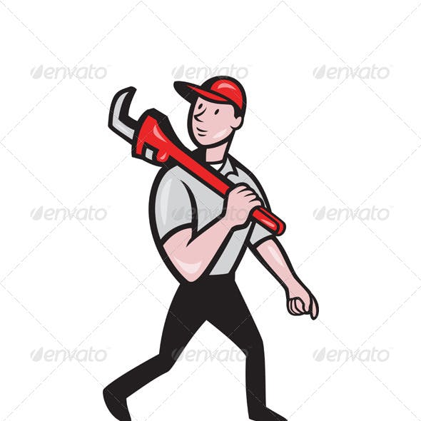 Plumber With Monkey Wrench Cartoon