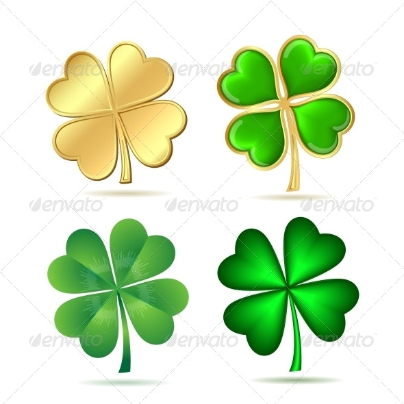 Set of Four-Leaf Clovers Isolated on White. - Seasons Nature
