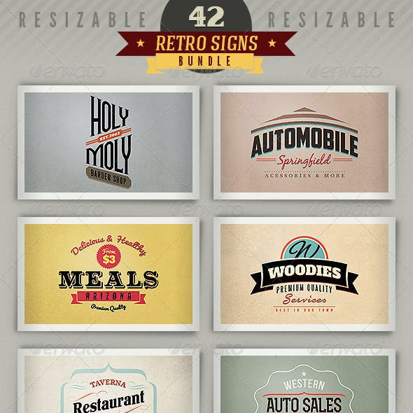 42 Retro Signs or Banners - Bundle