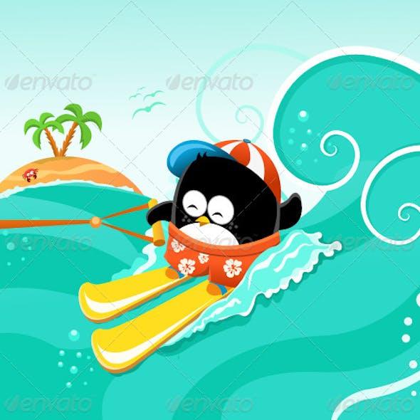 Water Skiing Penguin